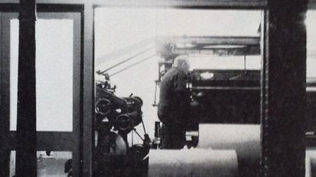 The printing press was visible from the street. Photo taken from The Architects & Building News in J