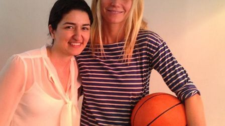 Gwyneth Paltrow with Nooshin Attarian, manager of new Belzie Park deli and coffee shop Cinnamon