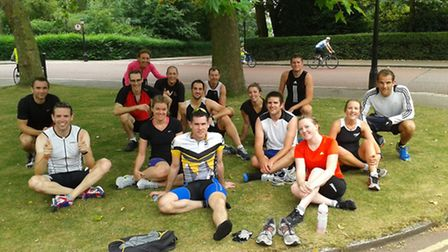 Members of Hampstead Triathlon Club recover after a transition session