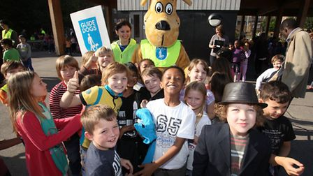 Children, of Lauriston Primary School, enjoy the visit of the Guide Dog Bus tour.