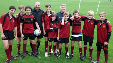 Rugby legends Lawrence Dallaglio and Jason Leonard visit a Year 9 UCS training session. Picture: Jon