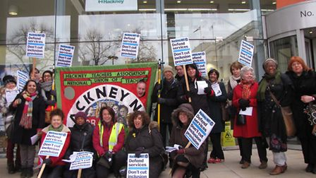 The inclusion team demonstrating outside the Hackney Learning Trust HQ