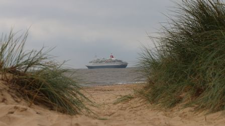 Boudicca moored just off the coast at Southwold.