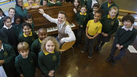 Jazz singer/player Joe Stilgoe visiting Colvestone Primary School
