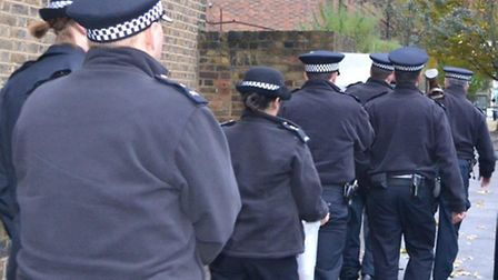 Officers from Hackney Police carry out estate sweeps