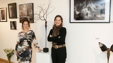Photographer Sandrine Joseph and sculptor Claire Mazurel at Burgh House for the opening of the Mothe