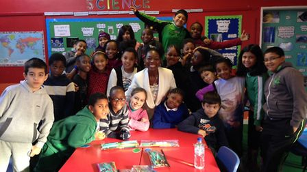 Pupils from Woodberry Down with Baroness Floella Benjamin