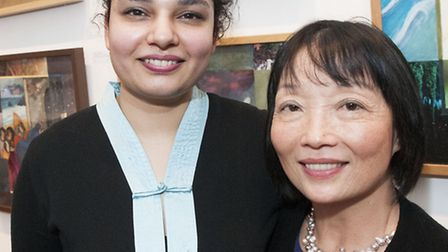 Gallery owner Shamineh pictured with Linda Chung. Picture: Nigel Sutton.