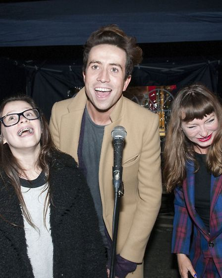 Nick Grimshaw switches on Primrose Hill Christmas Festival lights with Mercy Magic Cutler and Collet