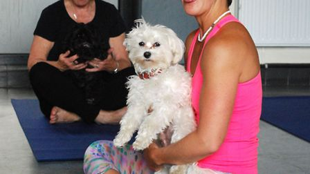 Instructor Mahny Jahanguiri with her dog Robbie during a panting exercise at her 'Doga' dog yoga cla