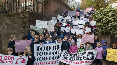 School children protesting against proposed redevelopment of former nurses' home near their school.