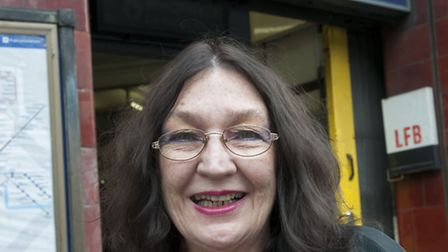 Michele Oberst at Hampstead Tube station. She got trapped in a lift at Hampstead station and is ret