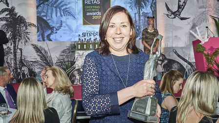 Spots co-owner Sarah Green after picking up the award for Best Greetings Card Retailer in East Angli