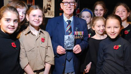Veteran Tom Parkinson with Year 6 pupils. Picture: Polly Hancock