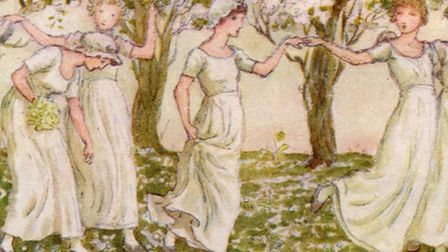 'The May dance' by Kate Greenaway. Young Victorians dancing in the celebration of May Day. Picture