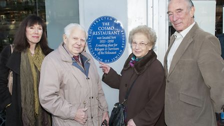 Marion Manheimer, whose parents ran The Cosmo, with John and Ursula Trafford and Frank Harding. Pict