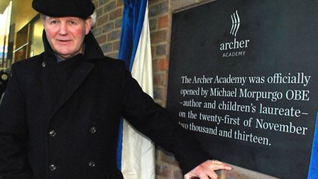 Michael Morpurgo at Archer Academy. Picture: Polly Hancock.