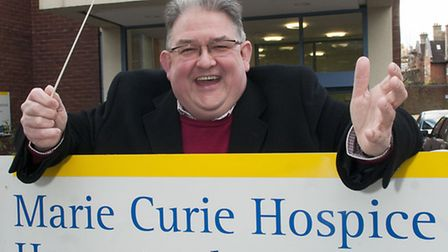 Conductor George Vass pictured at Marie Curie Hampstead Hospice, he is hosting a Christmas Celebrati