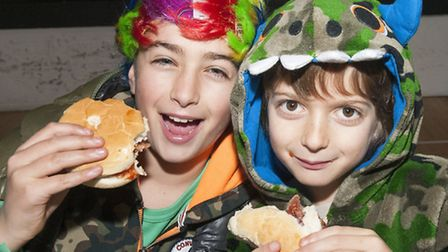 Sam and Milo Kaffel, aged 10 and seven, at a fundraising breakfast for the Philippines at King Alfre