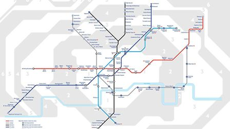 The Night Tube map showing which services will run all night from 2015