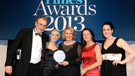 Dr Steve Shaw, Caitriona Stapleton and Sarah Crawford collect the award on behalf of the Royal Free