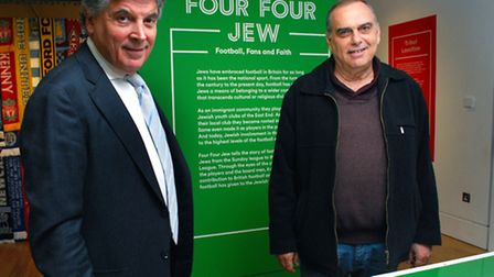 Avran Grant and David Dein (left) look around the Four Four Jew exhibition at the Jewish Museum. Pic