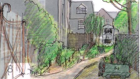 An artist's impression of the pocket park behind Sutton House