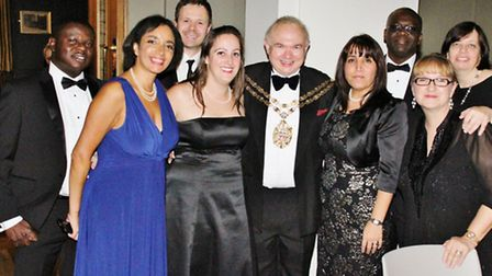 Guests at the charity gala with the Speaker of Hackney, Michael Desmond (centre).