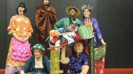 Some of the Hackney Players cast - from left Widow Twanky (Michael Davies), Genie of the Lamp (sitti