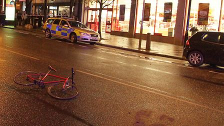 Police at the scene of an accident involving a male cyclist in Mare Street, Hackney Central.