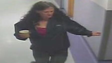 A CCTV of a woman who called herself Jean Noland leaving Homerton Hospital