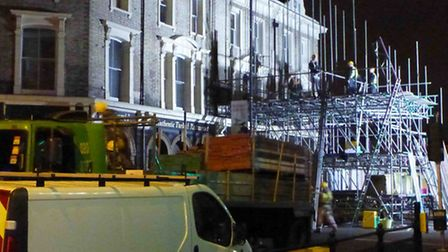 1-5 Amhurst Road held up with scaffolding, photo credit Peter M.