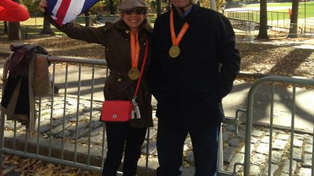 Sara and Roger Black, pictured in Central Park after completing the New York marathon.