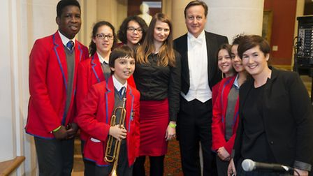 City Academy pupils with PM David Cameron at the Lord Mayor's Banquet 2013. Photo Martin Parr