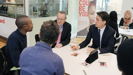 Labour Leader Ed Milliband MP having a table discussion at Hackney Community College, photo Matt Wri