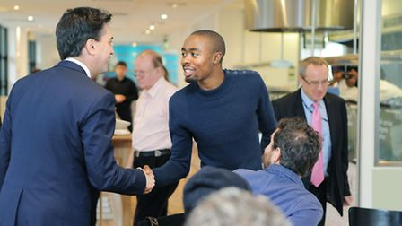 Labour Leader Ed Milliband MP with Obinna at Hackney Community College, photo Matt Writtle 2013.