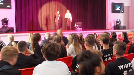 Karaoke at the charity week at Ormiston Denes Academy in aid of Cancer Research UK. Photo: Courtesy