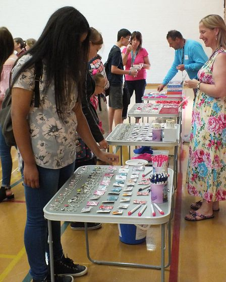 Lauren Lou merchandise sale at the charity week at Ormiston Denes Academy in aid of Cancer Research