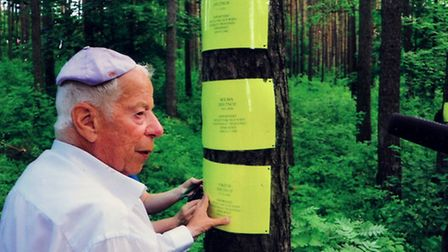 Otto Deutsch at the site where his parents and sister were killed