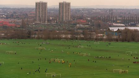 An overview of the football pitches on Hackney Marshes