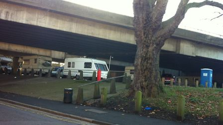 The unauthorised Travellers site off Lea Conservancy Road