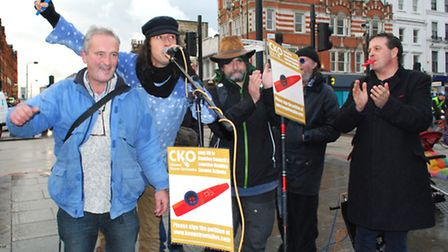 Buskers opposed Camden Council's decision to bring in laws requiring licences to busk in the borough