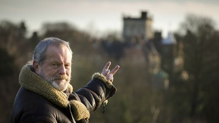 Terry Gilliam on Hampstead Heath gives two fingers to proposals to demolish Athlone House. Picture: