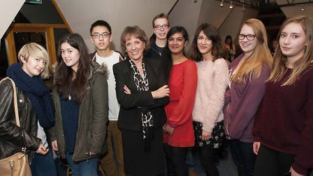 Esther Rantzen pictured with students from Queen Elizabeth's Girls' School & Queen Elizabeth's Schoo