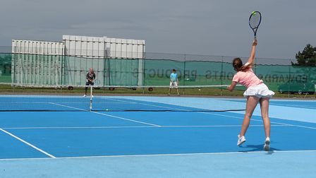 Action from the Lowestoft and District Tennis League championships. Pictures: Courtesy of Andrew Tur