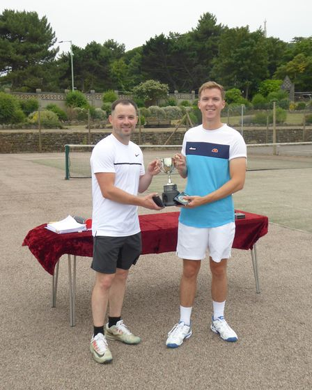 Lowestoft and District Tennis League championships mens doubles winners Ben Hall and James Brabben.