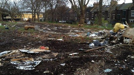 Mabley Green meadow, destroyed by fly tipping. Photo credit Damian Rafferty.