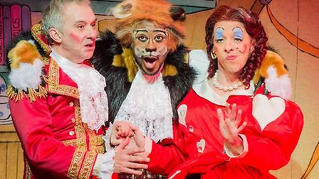 King Konkers the Bonkers (Tony Timerlake), Kat B as Puss in Boots and Stephen Matthews as Dame Netti