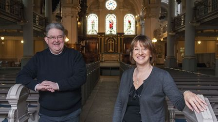 George Vass and Ginny Greenwood, organisers of A Christmas Celebration of music and carols at Hampst