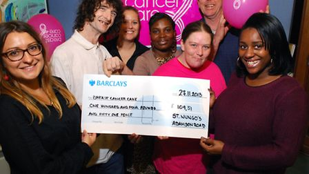 Christie Welch (left) from the fundraising team at Breast Cancer Care receives a cheque for �104.51
